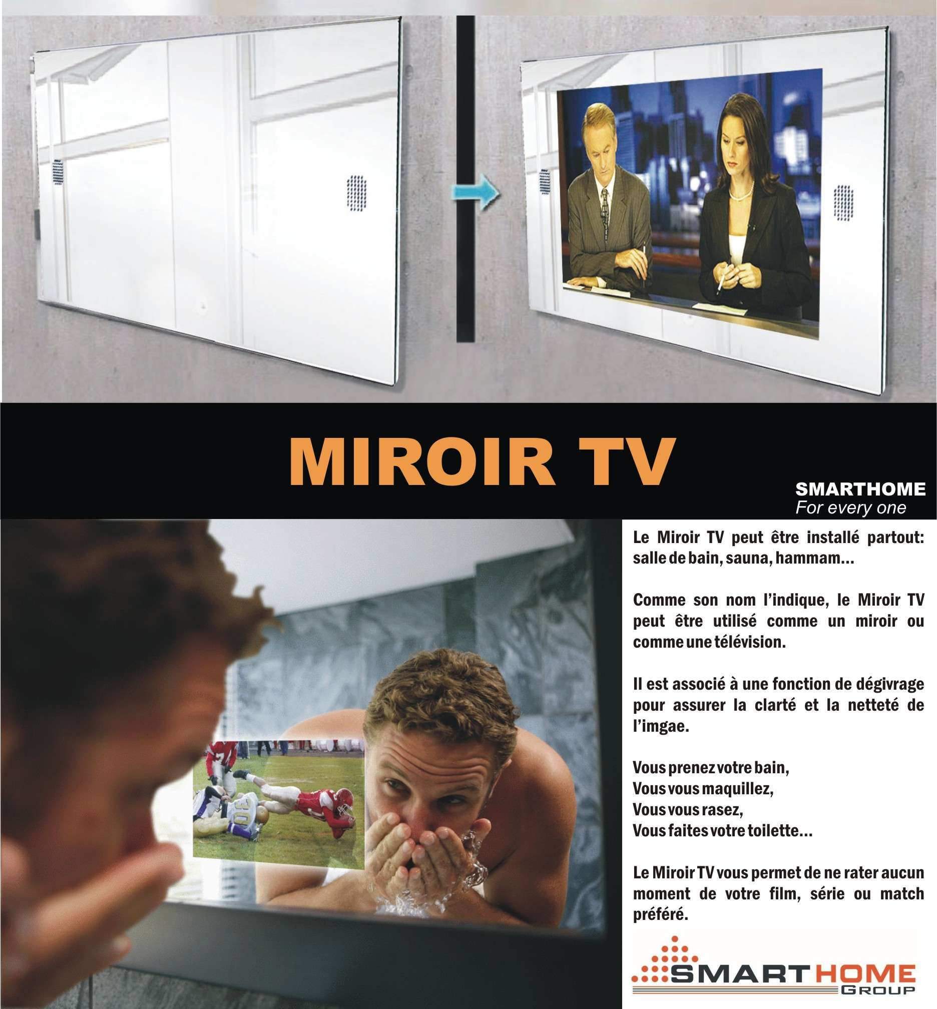 Smart bus home automation technology french catalogues for Tlvision miroir