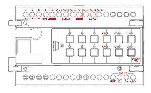 smart-bus dimmer 6ch 2amp   ch  din-rail mount  g4